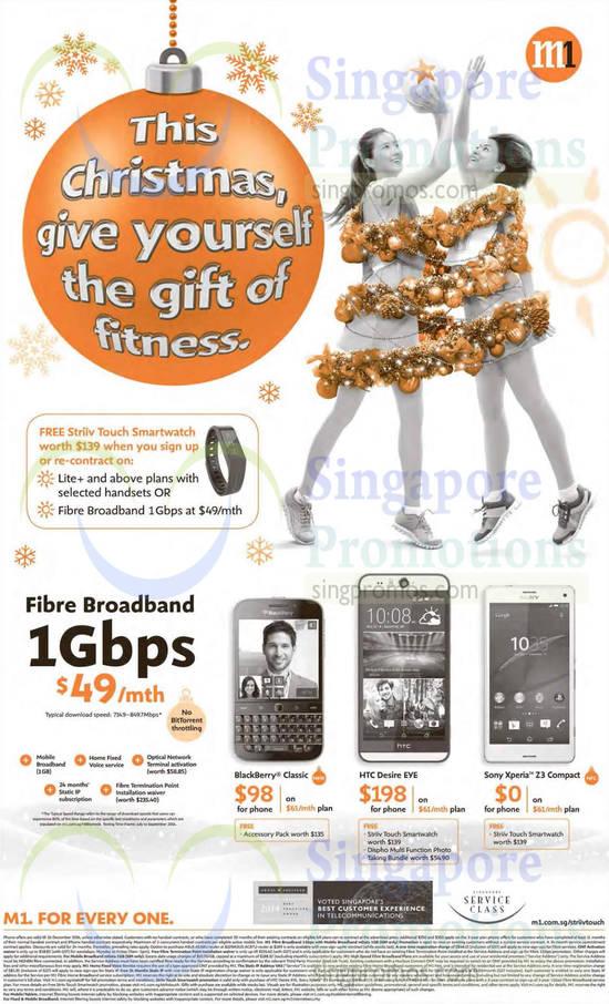 49.00 1Gbps Fibre Broadband, Free Striiv Touch Smartwatch, Blackberry Classic, HTC Desire Eye, Sony Xperia Z3 Compact