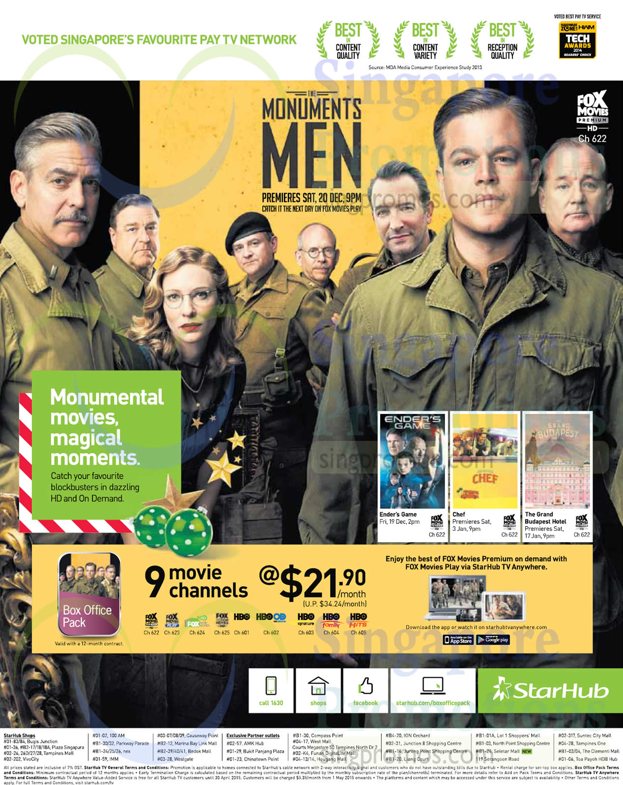Cable TV Box Office Pack 21 90 9 Movie Channels » Starhub