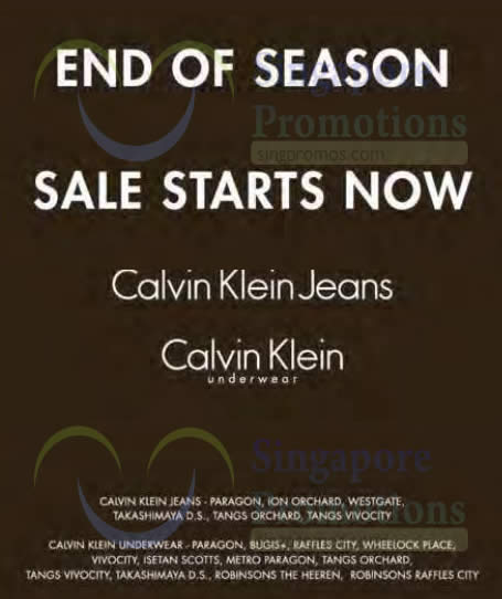 0ec9b339d69 Calvin Klein Jeans   Underwear End of Season Sale 12 Dec 2014