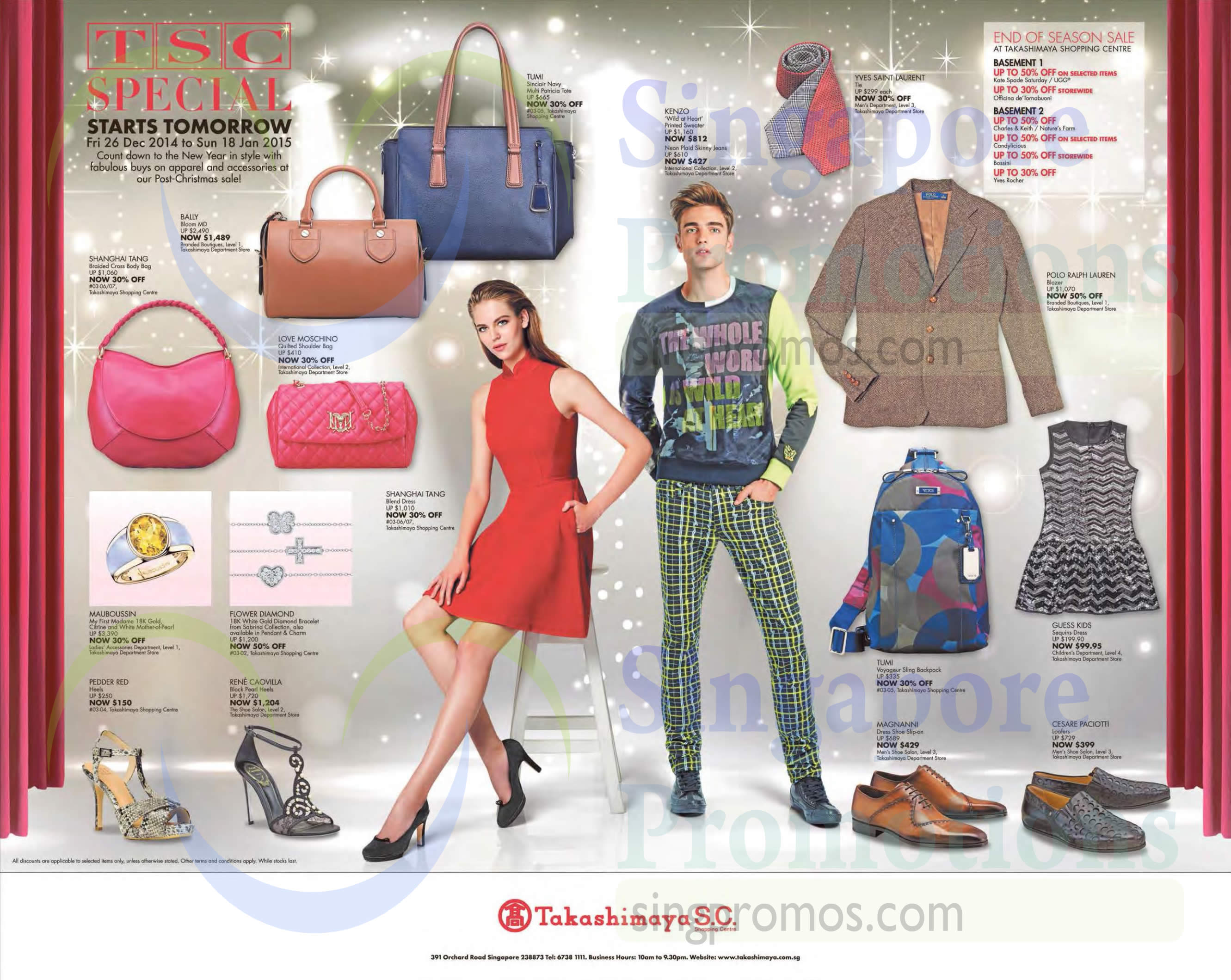 Handbags, Shoes, Sandals, Backpack, Ties, Blazer, Guess, Tumi, Magnanni, Cesare Paciotti, Polo Ralph Lauren, Kenzo, Bally, Pedder Red