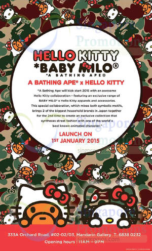 Featured image for Hello Kitty Baby Milo A Bathing Ape Launch @ Mandarin Gallery 1 Jan 2015