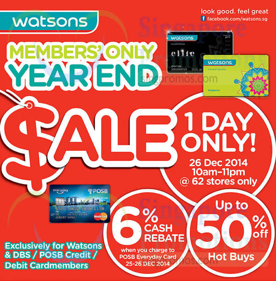 Members Only Year End Sale on 26 Dec 2014, Up to 50 Percent Off Hot Buys, 6 Percent Cash Rebate