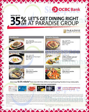 Featured image for Paradise Group Restaurants Up To 35% Off For OCBC Cardmembers 4 Dec 2014