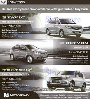 Featured image for Ssangyong Actyon, Stavic & Rexton Offers 6 Dec 2014