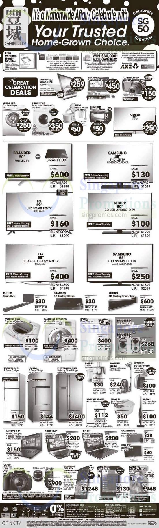 Lenovo Yoga 8 Tablet, Midea MD610 Dryer, Kuche WF7100W Washer, Samsung UA48H5003AKXXS TV, LG 49UB820T TV, LG 55EC9301 TV, Samsung UA58H5203AKXXS TV, Toshiba AWB1000G5WB Washer, LG GTD5101NS Fridge, Lenovo G40-70 Notebook, HP N219TX Notebook, Samsung Galaxy Tab S 10.5, Samsung Galaxy Note Edge, Canon EOS 700D DSLR Digital Camera