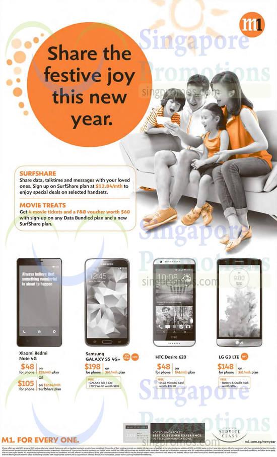 Xiaomi Redmi Note, Samsung Galaxy S5, HTC Desire 620, LG G3
