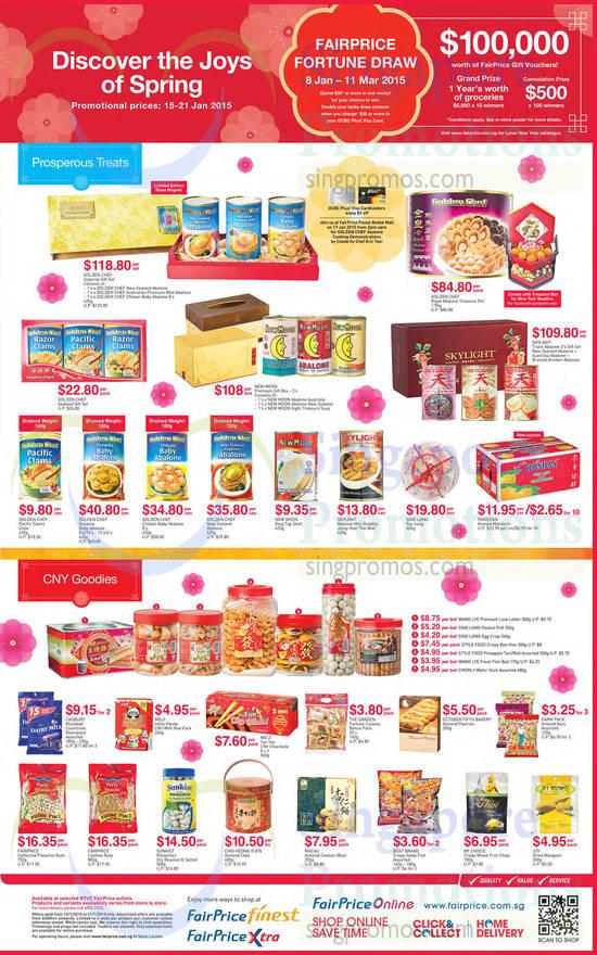 Abalones, CNY Goodies, Golden Chef, New Moon, Skylight, Cadbury, Sunkist