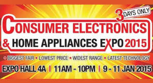 Featured image for Consumer Electronics & Home Appliances Expo @ Singapore Expo 9 – 11 Jan 2015