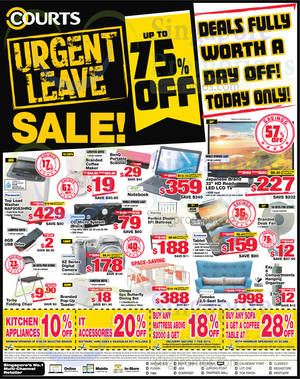 Featured image for Courts Up To 75% Off 1-Day Sale Offers 23 Jan 2015