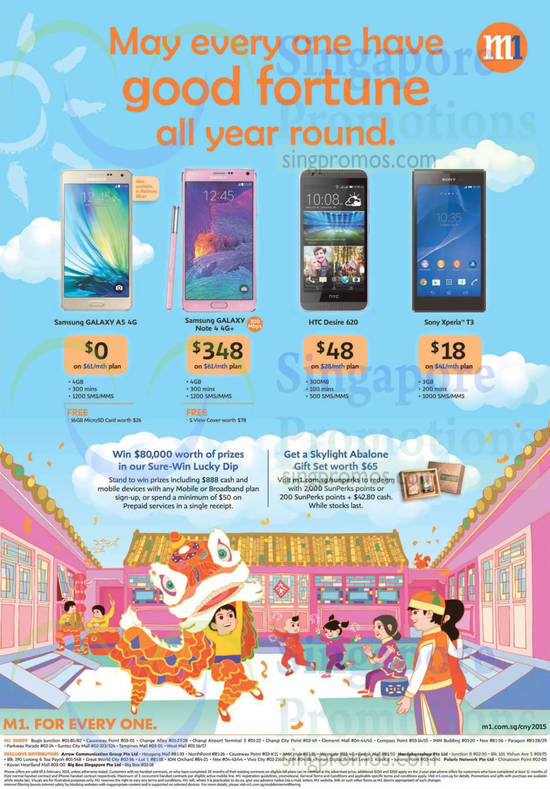 Free Abalone With 2,000 SunPerks Points, Samsung Galaxy A5, Note 4, HTC Desire 620, Sony Xperia T3
