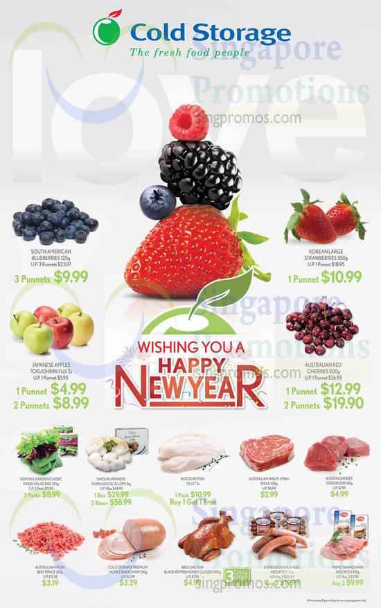 Fruits, Meats, Blueberries, Strawberries, Apples, Cherries, Chicken, Ham, Sausages, Scallops, Mixed Salad Bag