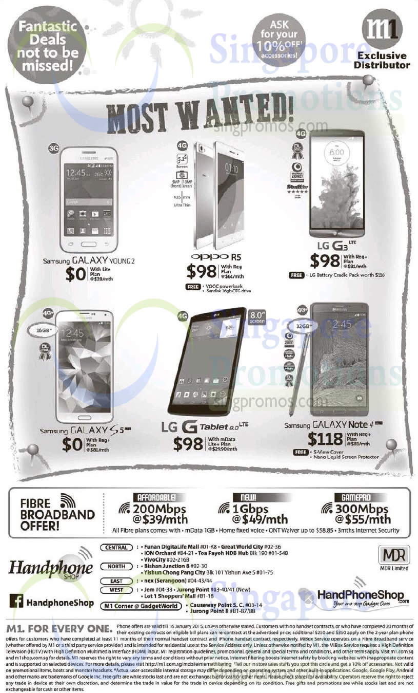 Handphone Shop Samsung Galaxy Young 2, S5, Note 4, Oppo R5, LG G3, G Tablet 8.0