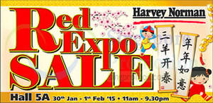 Featured image for Harvey Norman Red Expo Sale @ Singapore Expo 30 Jan – 1 Feb 2015