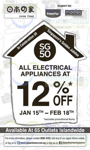 Featured image for Japan Home 12% Off Electrical Appliances @ Islandwide 15 Jan – 18 Feb 2015