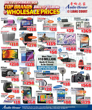 Featured image for Audio House Electronics, TV, Notebooks & Appliances Offers @ Liang Court 9 Jan 2015