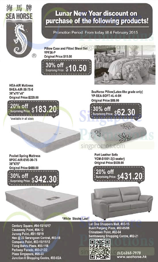Sea Horse Lunar New Year Discount Offers 25 Jan – 4 Feb 2015. List of Seahorse Sofa sale events, promotions ...