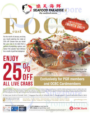 Featured image for Seafood Paradise 25% OFF Live Crabs For OCBC Cardmembers 5 – 30 Jan 2015