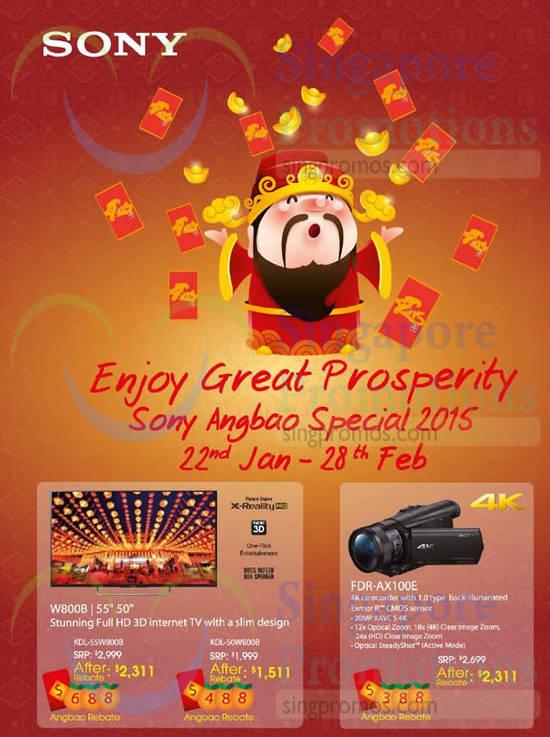 Sony KDL-55W800B TV, Sony KDL-50W800B TV, Sony FDR-AX100E Camcorder