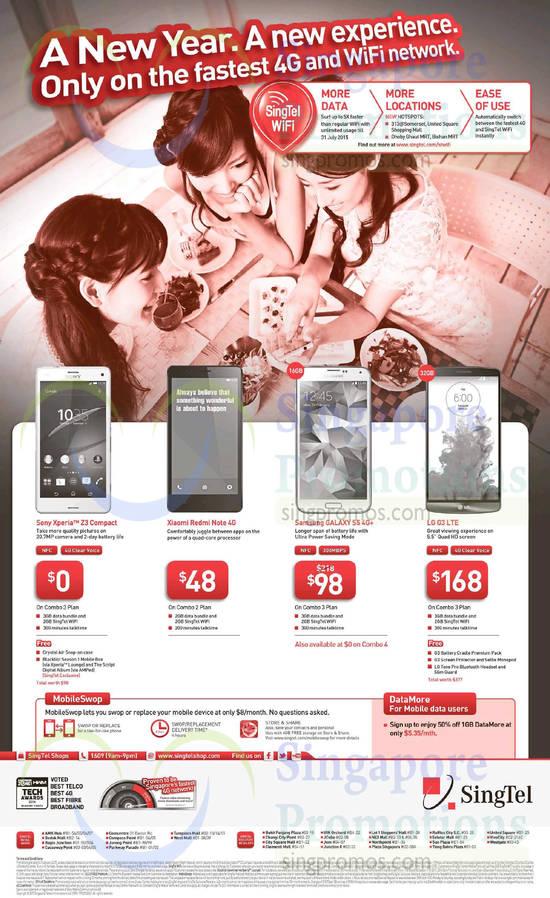 Sony Xperia Z3 Compact, Xiaomi Redmi Note, Samsung Galaxy S5, LG G3