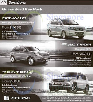 Featured image for Ssangyong Actyon, Stavic & Rexton Offers 10 Jan 2015