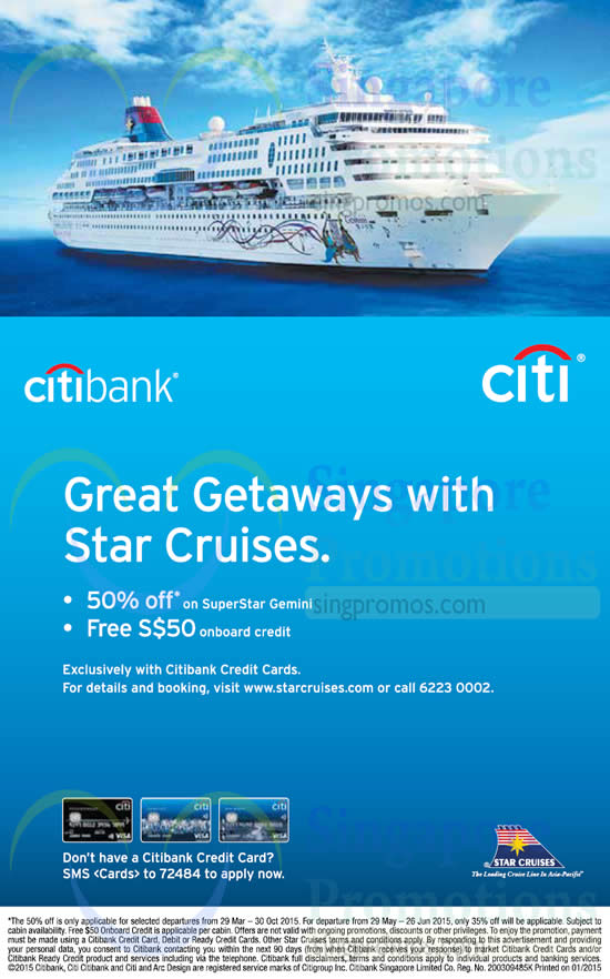 Citibank Online Sign In >> Star Cruises 50% Off SuperStar Gemini For Citibank ...