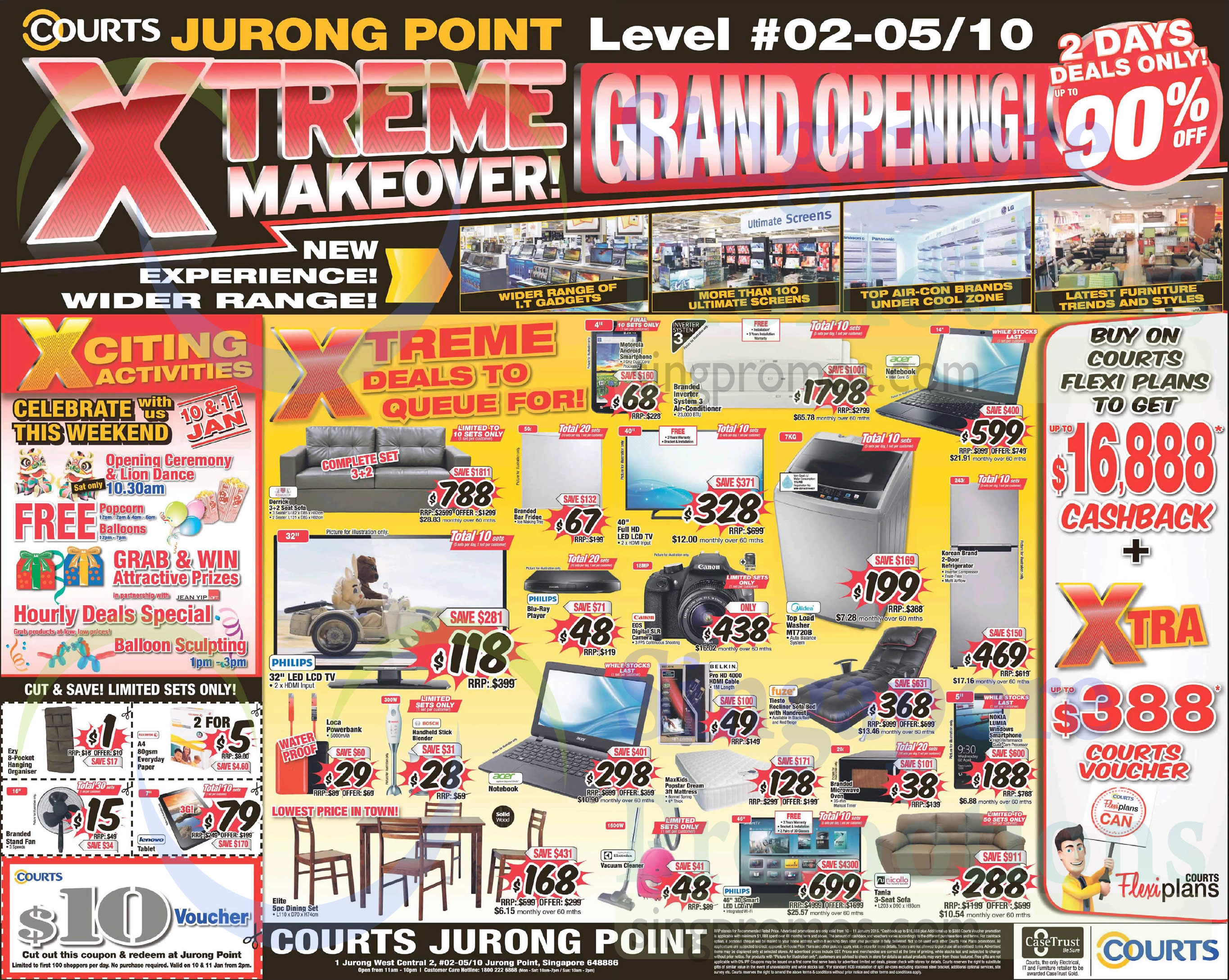 (Till 11 Jan) Jurong Point Grand Opening Furniture, TV, Notebook, Sofa, Dining Set, Fridge, Blu Ray Player, Blender, Vacuum Cleaner, Stylemaster, Acer, Electrolux, Philips, Bosch, Motorola