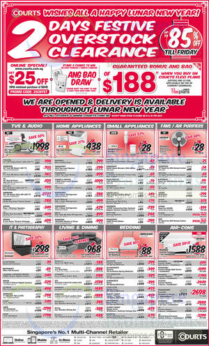 Featured image for Courts 3-Days Festive Overstock Clearance Offers 18 – 20 Feb 2015