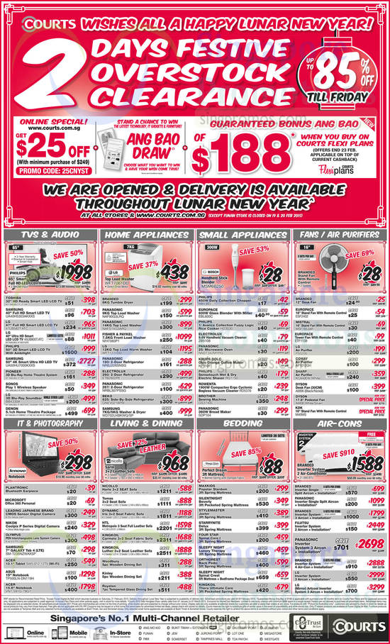 Featured image for Courts 3-Days Festive Overstock Clearance Offers 18 - 20 Feb 2015