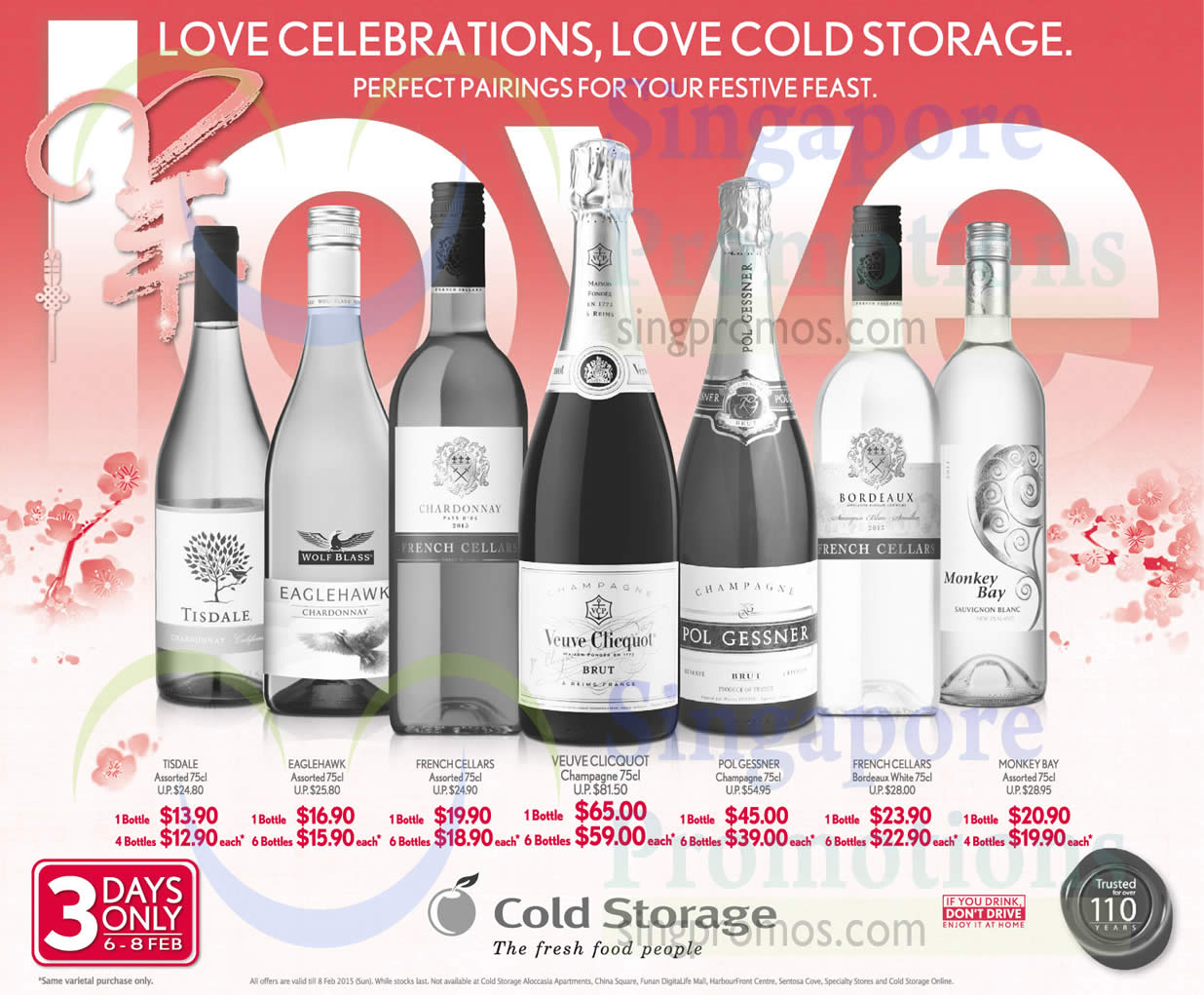 6 Feb Wines, Tisdale, Eaglehawk, French Cellars, Veuve Clicquot Champagne, Polgessner Champagne, French Cellars Bordeaux White, Monkey Bay