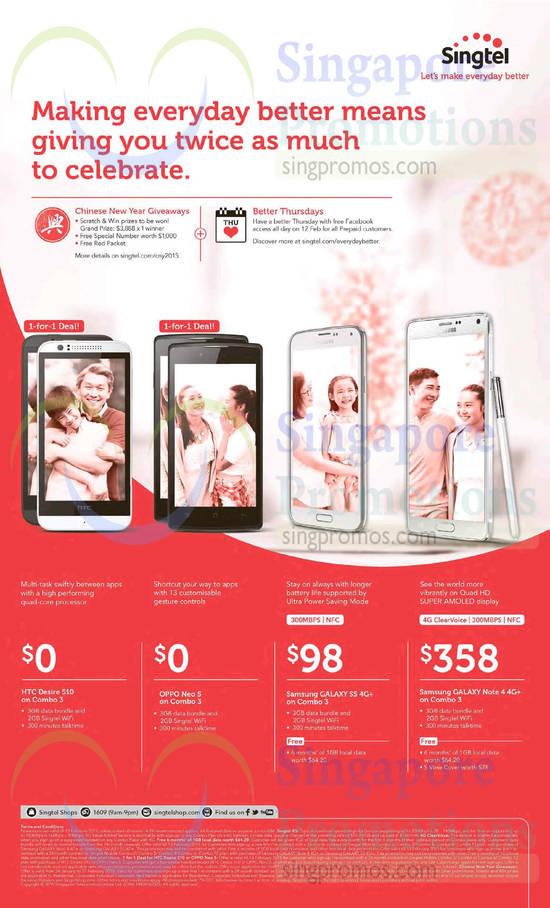 HTC Desire 510, Oppo Neo 5, Samsung Galaxy S5, Samsung Galaxy Note 4