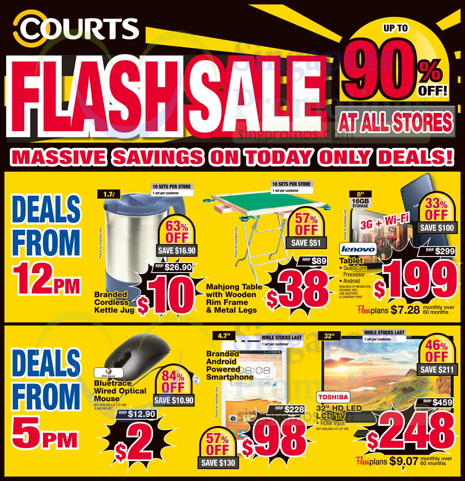 Courts Up To 75% Off 1-Day Flash Sale Offers 6 Feb 2015