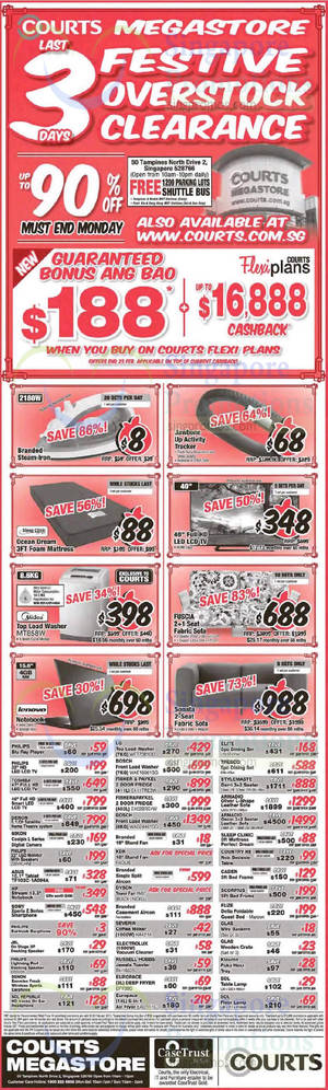 Featured image for Courts 3-Days Festive Overstock Clearance Offers 21 – 23 Feb 2015