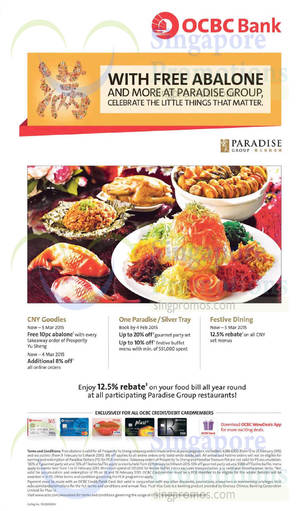 Featured image for Paradise Group Dining Deals For OCBC Cardmembers 1 Feb – 5 Mar 2015