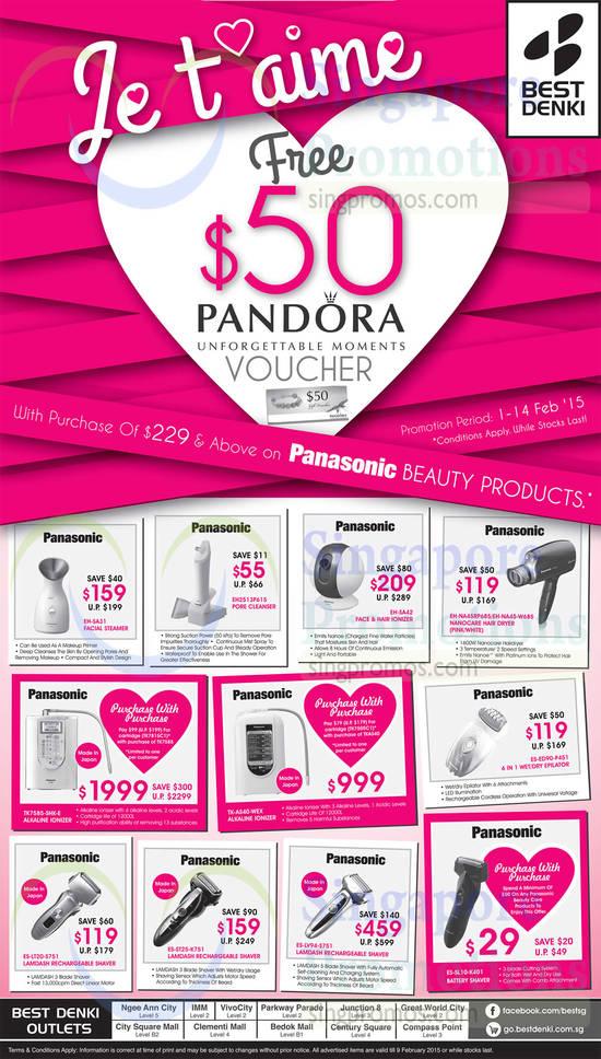 Panasonic EH-SA31 Facial Steamer, Panasonic EH2513P615 Pore Cleanser, Panasonic EH-SA42 Face & Hair Ionizer, Panasonic EH-NA45RP685 Hair Dryer, Panasonic EH-NA45-W685 Hair Dryer, Panasonic TK7815C1 Cartridge, Panasonic TH7585-SHK-E Alkaline Ionizer, Panasonic TK7505C1 Cartridge, Panasonic TK-AS40-WEX Alkaline Ionizer, Panasonic ES-ED90-P451 Epilator, Panasonic ES-LT20-S751 Shaver, Panasonic ES-ST25-K751 Shaver, Panasonic ES-LV94-S751 Shaver and Panasonic ES-SL10-K401 Shaver