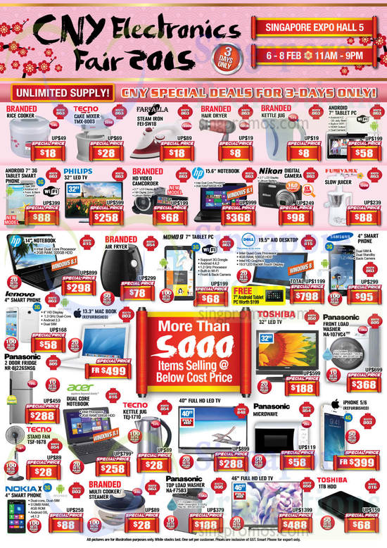 Tecno TMX-8003 Cake Mixer, Farfalla FEI-SW18 Iron, Panasonic NA-107VC4 Washer, Panasonic NR-BJ226SNSG Fridge, Tecno TEJ-1710 Kettle Jug, Tecno TSF-1678 Fan, Apple iPhone 5, Apple iPhone 6, Panasonic NA-F75B3 Washer
