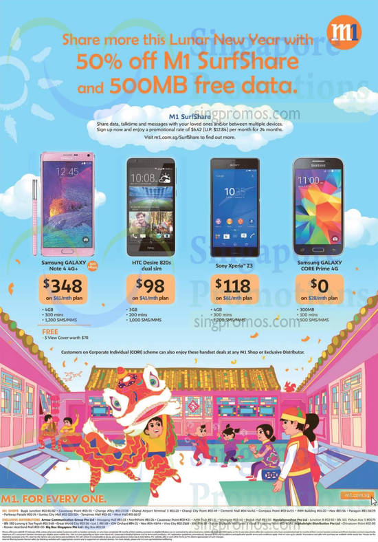Samsung Galaxy Note 4, Samsung Galaxy Core Prime, HTC Desire 820s, Sony Xperia Z3