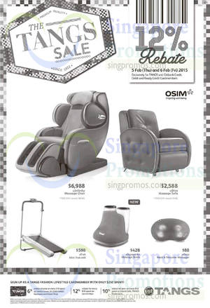 Featured image for Osim Massagers & Exercise Equipments Offers @ Tangs 5 – 6 Feb 2015