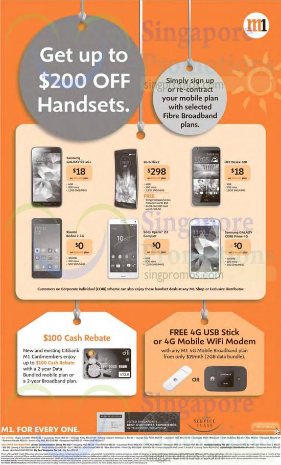 100 Dollar Cash Rebate, Free 4G USB Stick, Samsung Galaxy S5, Samsung Galaxy Core Prime, LG G Flex2, HTC Desire 620, Xiaomi Redmi 2, Sony Xperia Z3 Compact