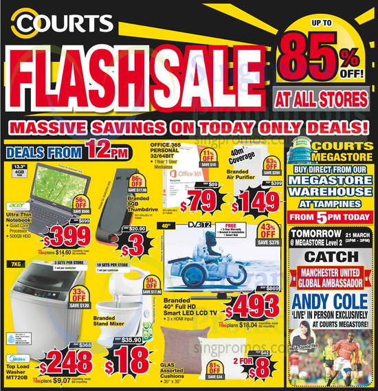 12PM Deals Notebooks, Thumbdrive, TV, Cushions, Washer, Mixer, Acer, Midea