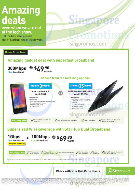 49.90 300Mbps Fibre Broadband, 69.90 Dual 1Gbps Fibre Broadband n 100Mbps Cable Broadband