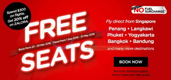 Air Asia FREE Seats 23 Mar 2015