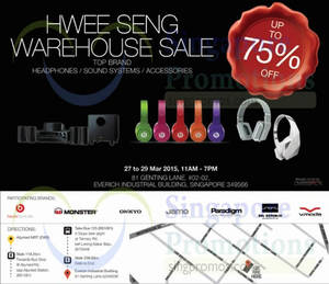 Featured image for Hwee Seng Audio Warehouse Sale 27 – 29 Mar 2015