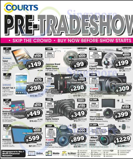 Tablet, Notebooks, Digital Cameras, Lenovo, Samsung, Toshiba, Dell, Olympus, Canon, Nikon
