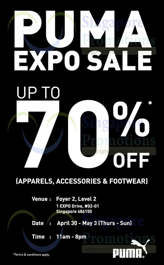30 Apr Puma Expo Sale Up to 70 Percent Off