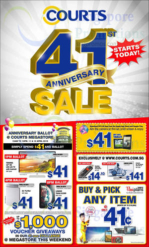 Featured image for Courts 41st Anniversary Sale Offers 11 – 13 Apr 2015