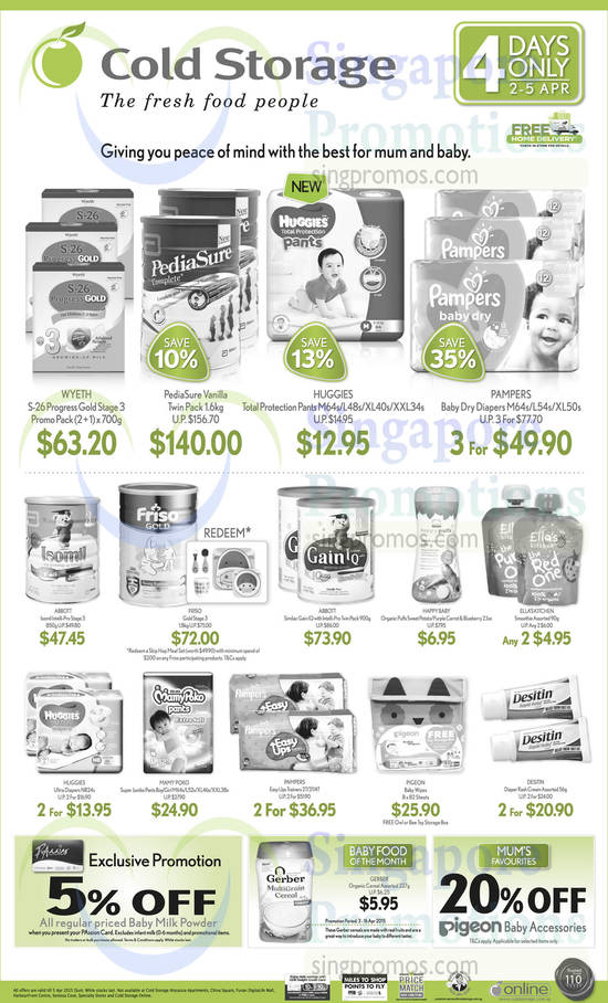 Wyeth S-26 Progress Gold Stage 3 Promo Pack, PediaSure Vanilla Twin Pack, Huggies Total Protection Pants, Pampers Baby Dry Diapers, Abbott Isomil Intelli-Pro Stage 3 850g, Friso Gold Stage 3 1.8kg, Abbott Similac Gain IQ with Intelli-Pro Twin Pack, Happy Baby Organic Puffs, Ella's Kitchen Smoothie, Huggies Ultra Diapers NB24s, Mamy Poko Super Jumbo Pants Boy/Girl, Pampers Easy Ups Trainers, Pigeon Baby Wipes, Desitin Diaper Rash Cream and Gerber Organic Cereal