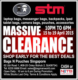 Featured image for Bagman Bags & STM Bags Clearance Sale 15 – 19 Apr 2015