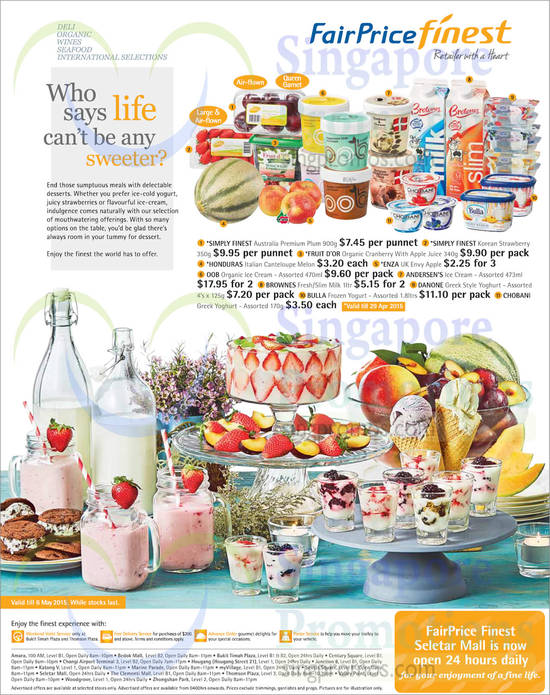 Fruits, Yogurts, Ice Cream, Milk, Fruit Juice, Honduras, Enza, Andersens, Brownes, Bulla, Chobani