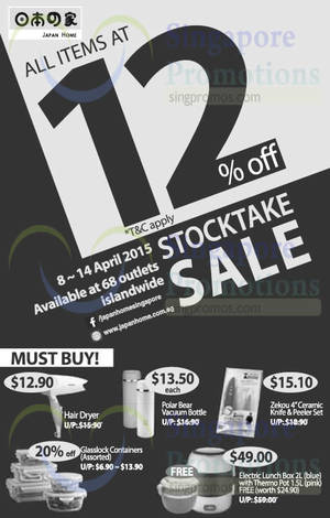 Featured image for Japan Home 12% OFF Storewide Stock Take Sale 8 – 14 Apr 2015