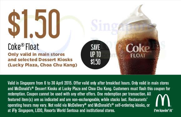(Main Stores, Selected Dessert Kiosks) 1.50 Coke Float